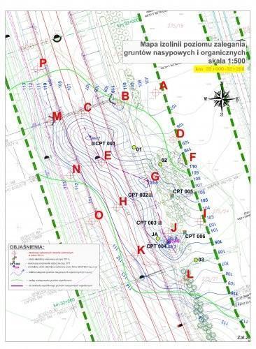 mapa izolinii poziomu zalegania gruntów nasypowych i organicznych
