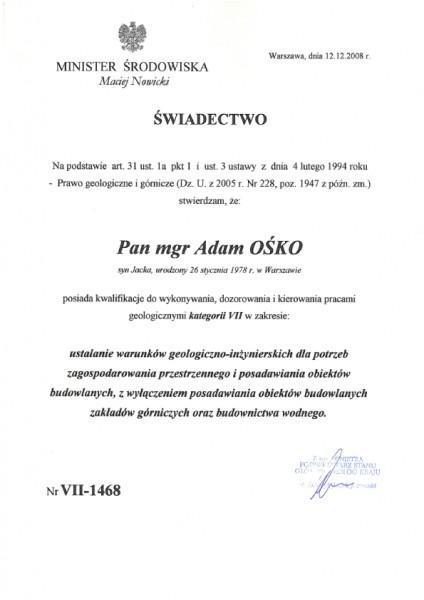 Uprawnienia geologiczne VII Adam Ośko