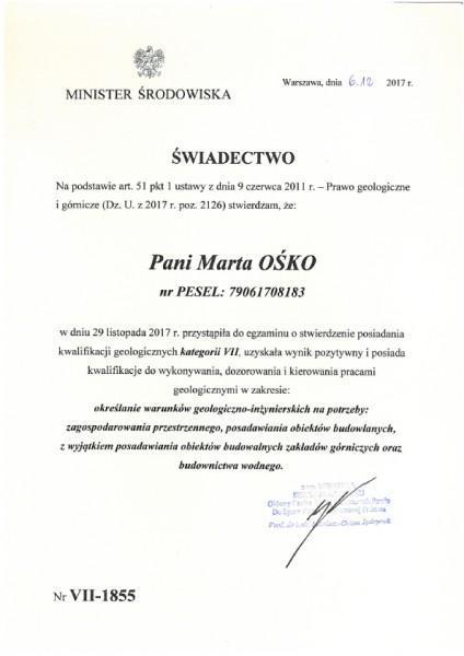 Uprawnienia geologiczne VII Marta Ośko