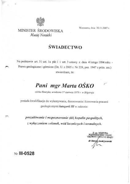 Uprawnienia geologiczne III Marta Ośko