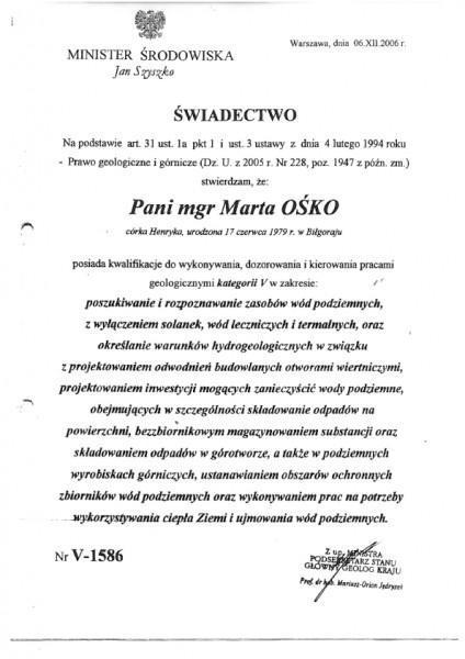 Uprawnienia geologiczne V Marta Ośko